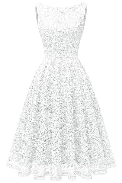 Bbonlinedress Vestido Corto Elegante Mujer De Encaje Boda Playa Fiesta Noche Cóctel Sin Mangas White S
