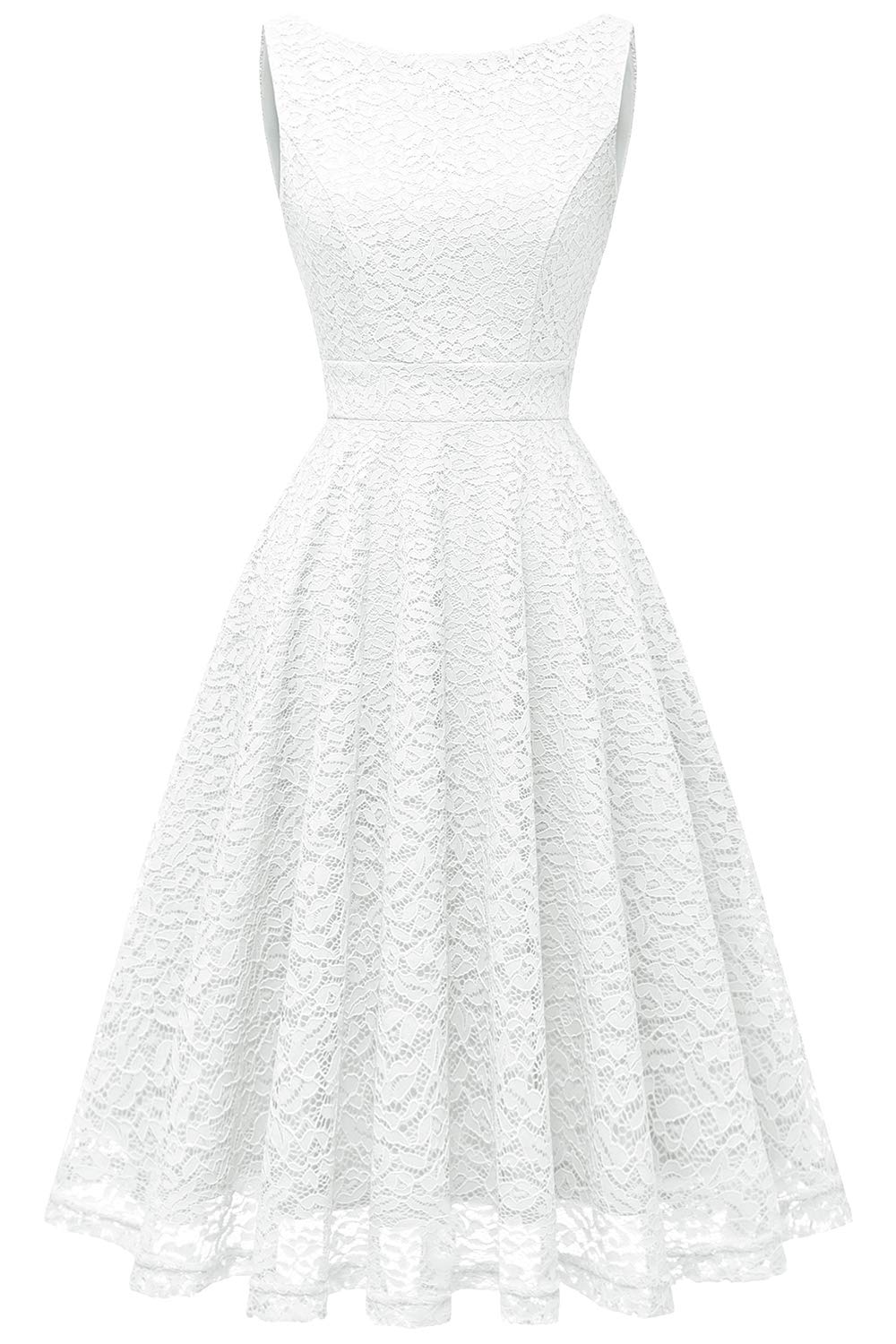 Bbonlinedress Women's Short Floral Lace Bridesmaid Dress V-Back Sleeveless Formal Cocktail Party Dress White M