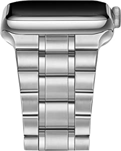Secbolt Stainless Steel Bands Compatible with Apple Watch Band 38mm 40mm iWatch Series 6/SE/5/4/3/2/1, Business Replacement Wristband Strap Accessories Women Men for i Watch Series, Silver