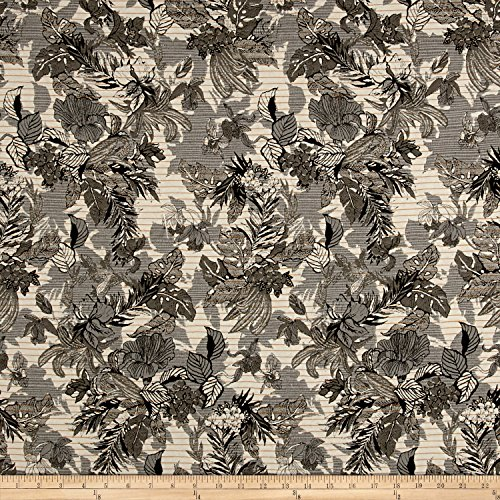 - Fabric French Reversible Tropical Floral Jacquard by The Yard, Olive/Grey/Mustard/White