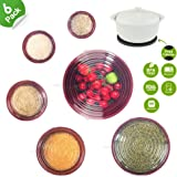 Silicone Stretch Lids 6 Packs Various Sizes + 1 Free Bonus Potholder, Reusable Silicone Mixing Bowl Bakeware Dish Jar Food Container Sealed Covers, Microwave Oven Dishwasher Safe
