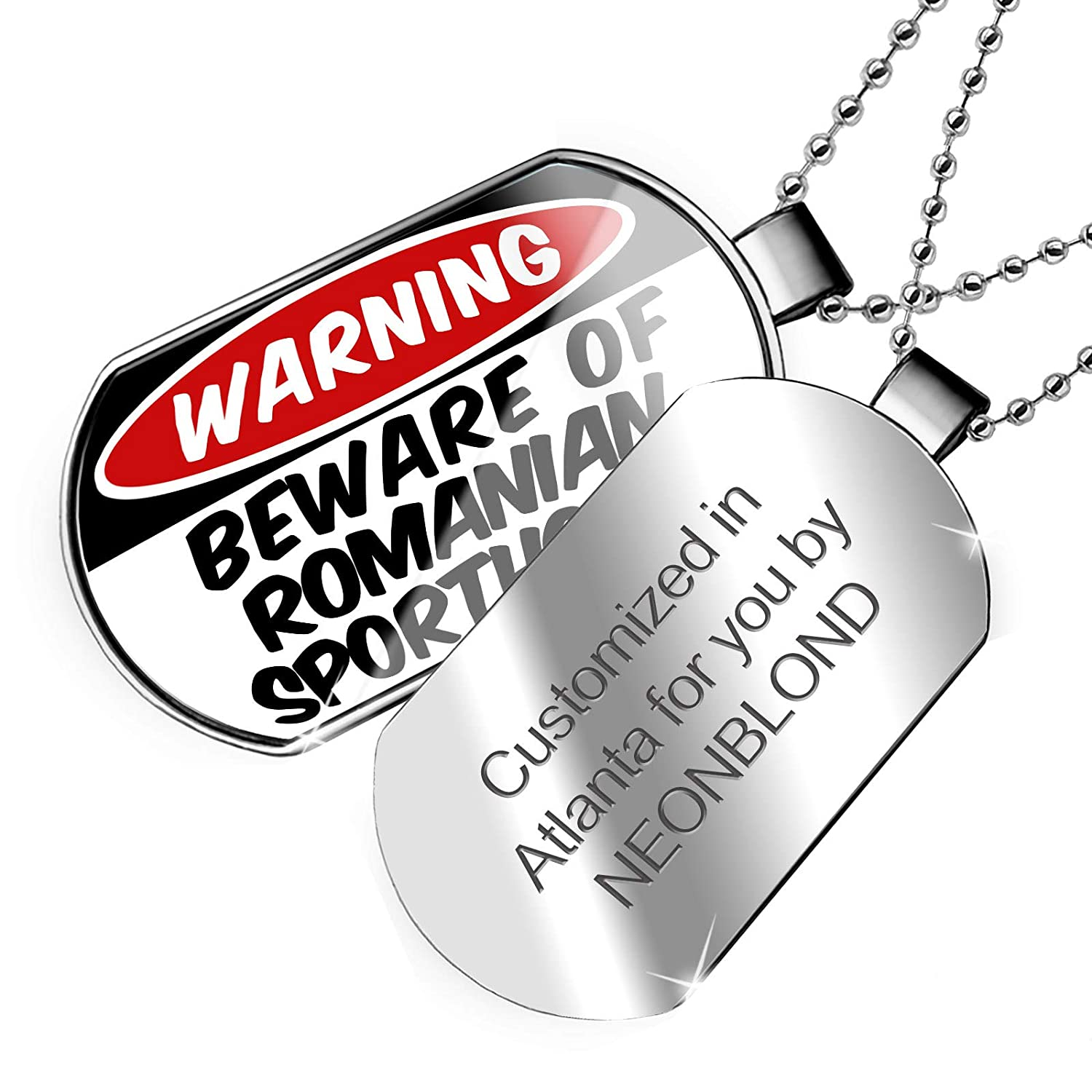 NEONBLOND Personalized Name Engraved Beware of The Romanian SportHorse Dogtag Necklace