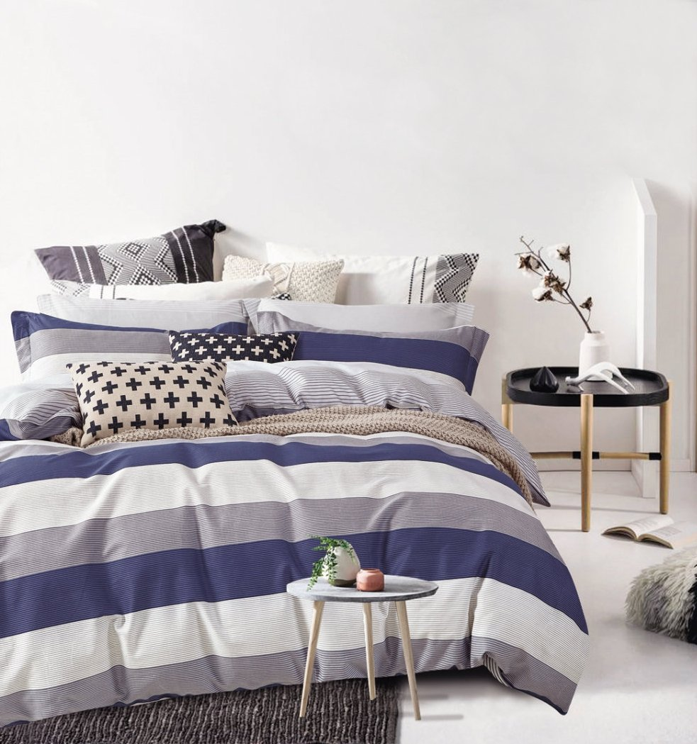 Cabana Stripe Modern Duvet Cover 100-Cotton Twill Bedding Set Geometric White and Navy Distressed Rugby Stripes Print in Dusty Blue Shades Reversible (Queen, Dusty Blue/Raisin)