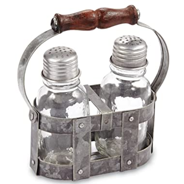 Mud Pie 4505017 Farmhouse Salt and Pepper Shaker Set, Silver