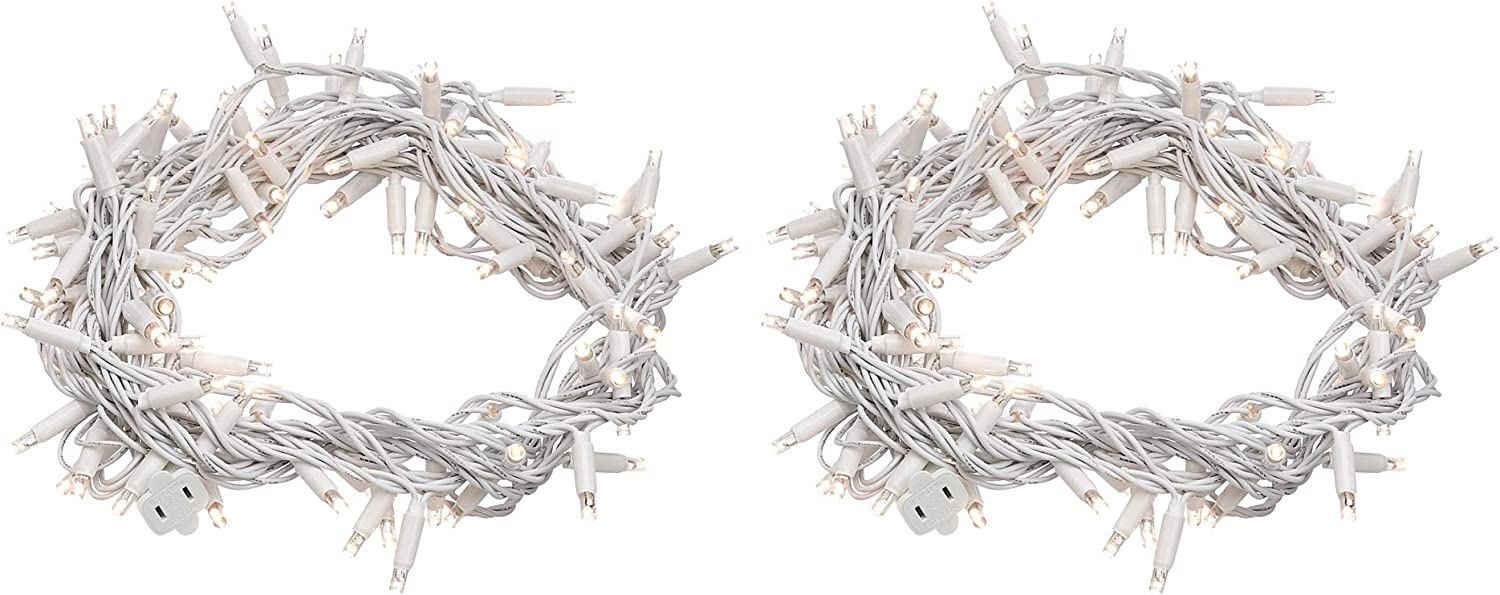 AmazonBasics 100 LED Commercial Grade Outdoor Christmas String Lights - White Rope, Warm White LED, 33-Foot, 2-Pack