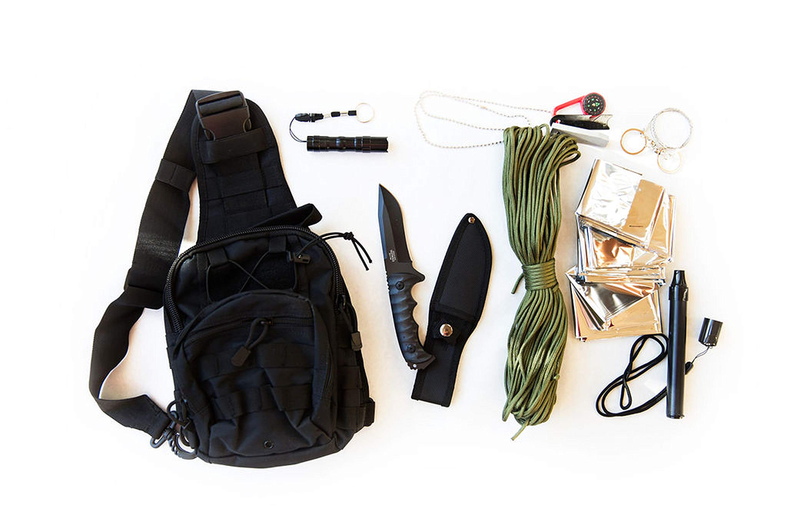 Coobera Survival Backpack Kit with Emergency Tactical Gear (Black)