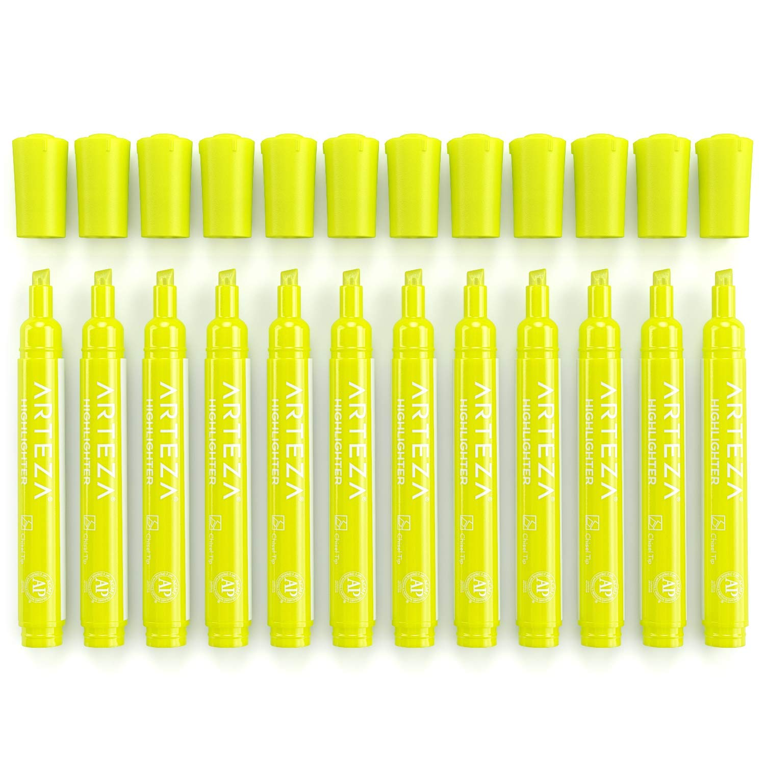 Arteza Highlighters Set of 64, Yellow Color, Wide Chisel Tips, Bulk Pack of Markers, for Office, School, Kids & Adults by ARTEZA (Image #5)