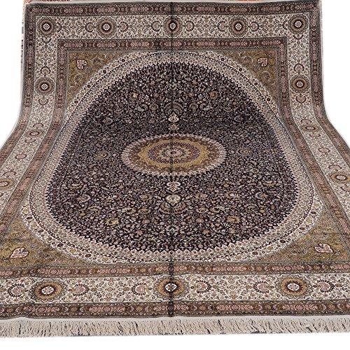 YILONG CARPET 9' x 12′ Large Oriental Traditional Handmade Nain Persian Silk Rug Medallion Hand Knotted Carpet Navy…
