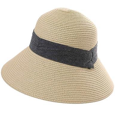 b1e4f66ea Comhats Ladies Sun Hat UPF 50 Summer Straw Beach Sunhat Wide Brim Fashion  Cloche Hats Foldable Adjustable