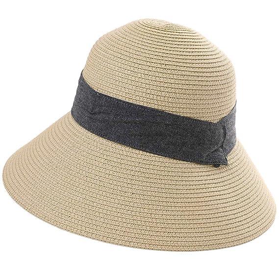 Comhats Klappbar Sommerhut Damen Sonnenhut UPF 50 breite Krempe mit Kinnriemen Beige M