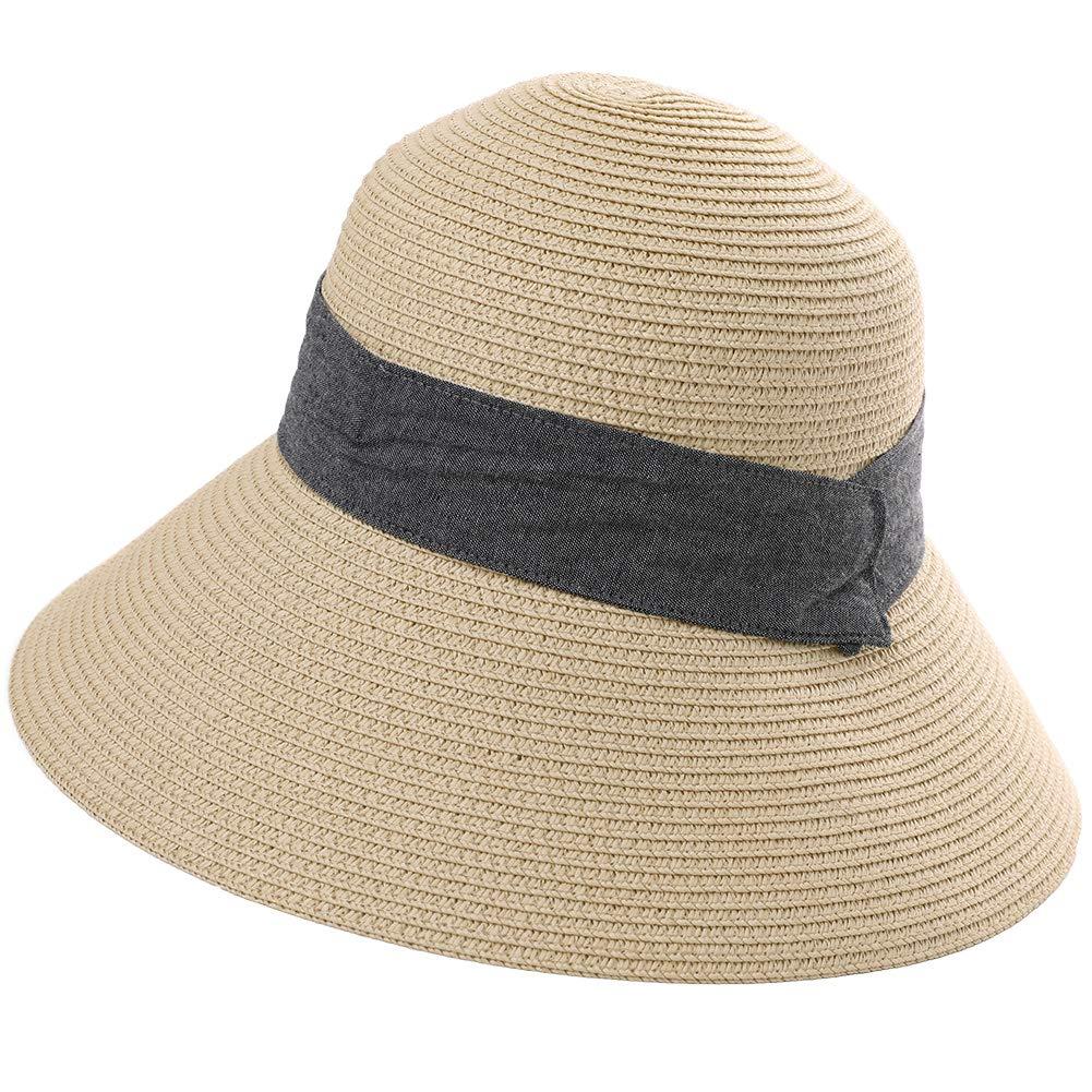 Summer Womens Beach Straw Sun Hat Packable Foldable UV Protection Travel Cloche Fedoras Wide Brim Ladies Khaki Beige