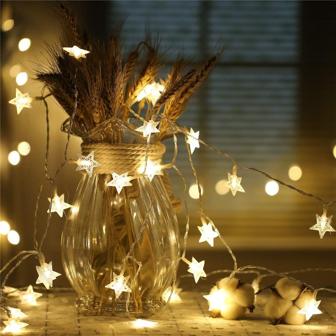 BGFHDSD 10M 100 LEDs LED Star String Warm White Star String for Holiday Wedding Party Christmas Tree Decorative String Lights Blue 110V US Plug