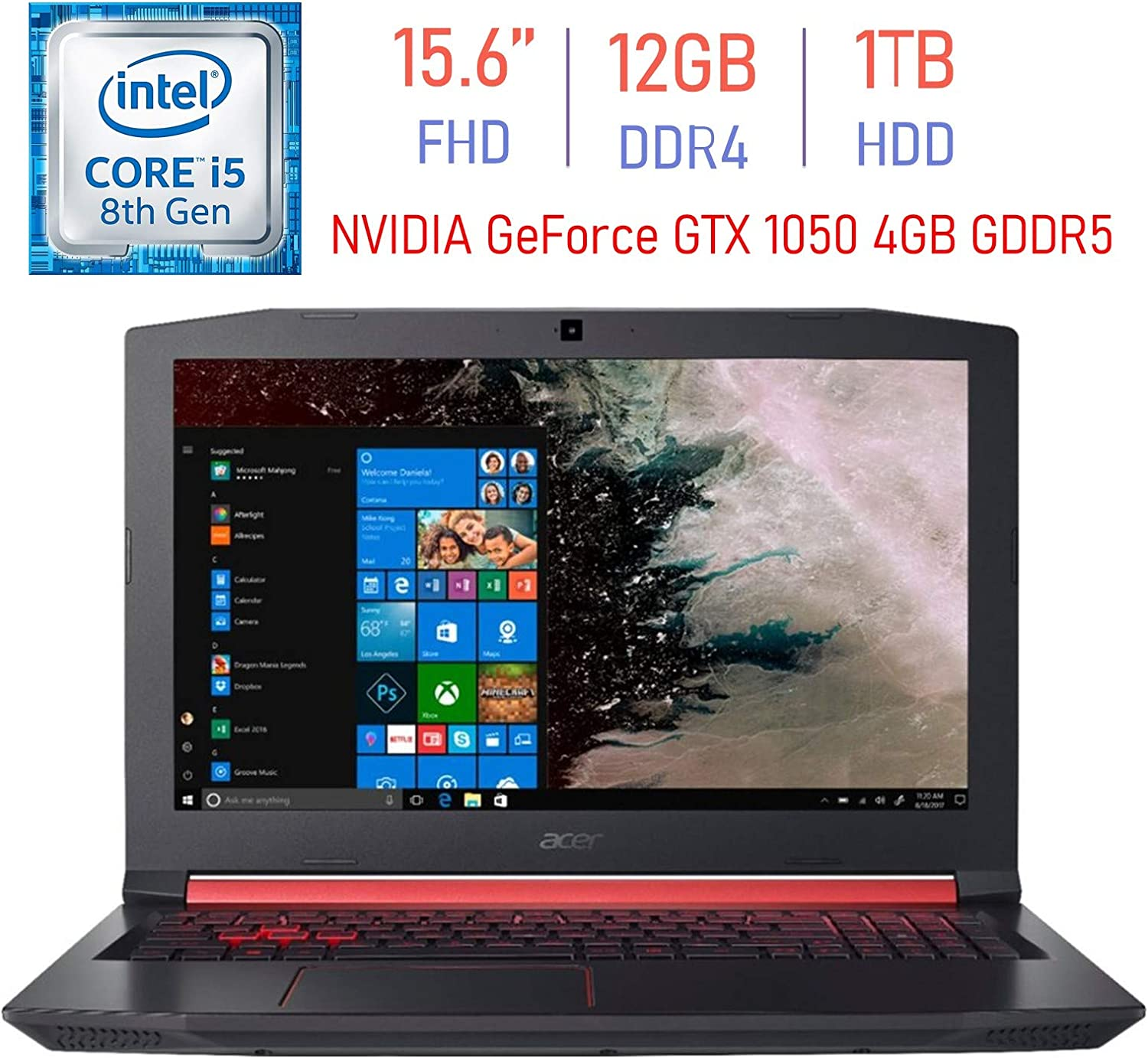 Acer Nitro 5 Gaming AN515 15.6-inch FHD(1920x1080) IPS Laptop PC, 8th Gen Intel i5-8300H (Up to 4.0GHz), NVIDIA GeForce GTX 1050 4GB GDDR5, 12GB RAM, 1TB HDD, Backlit Keyboard, Bluetooth, Windows 10