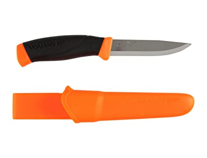 Morakniv Companion Fixed Blade Outdoor Knife with Sandvik Stainless Steel Blade, 4.1-Inch, Orange