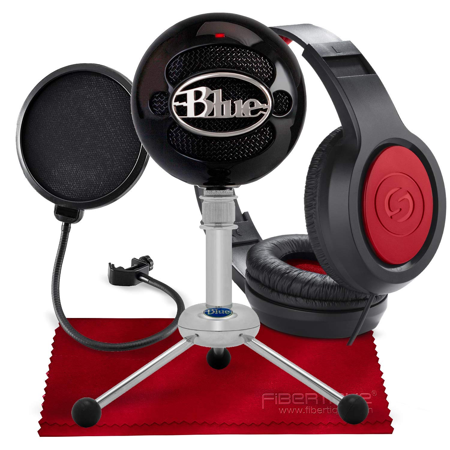 Blue Snowball USB Condenser Microphone (Gloss Black) with Headphones and Accessory Pack