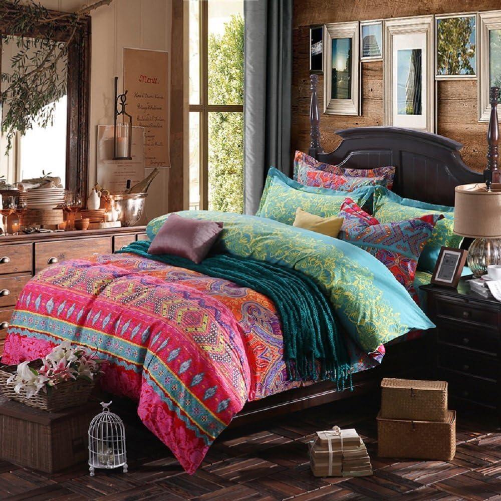 YOUSA 3Pcs Colorful Boho Bedding Set Bohemian Duvet Covers (Queen,01)