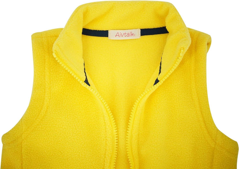 Aivtalk Little Boys Fleece Warmth Sleeveless Vests Outfit Zipper Pocket 2-9T