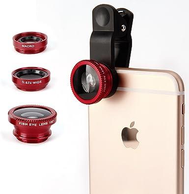 Lentes Smartphone 3 in 1 Lentes móviles Kit Lente Ojo de Pez Suprema 180 grados + Lente Gran Angular 0.67 X + Lente Macro Objetivos móviles para iPhone 6S/6S Plus iPhone 6/6 Plus – Rojo: Amazon.es: Electrónica