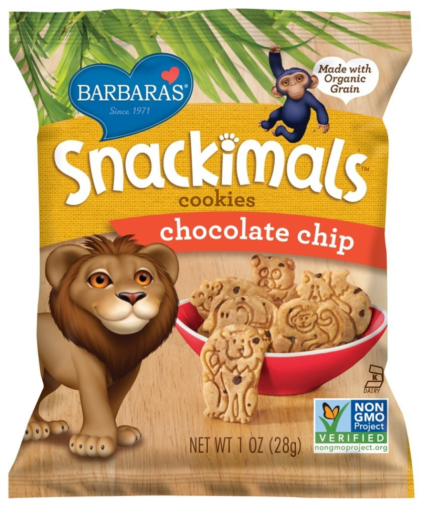Barbara's Bakery Snackimals Cookies, Chocolate Chip, 6 Single Serving Bags (Pack of 6)