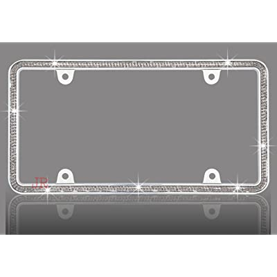 JR2 Shining Double Row Crystal Metal License Plate Frame (Grey)+Free Screw Caps: Automotive