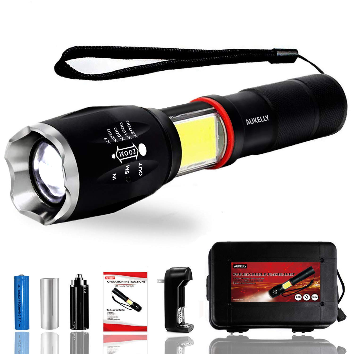 Aukelly LED Flashlight Rechargeable High Lumens Tactical Flashlight,Waterproof,Handheld,Zoomable,Altra Bright Flashlights,Ideal for Camping,Emergency,with 18650 Battery and Charger