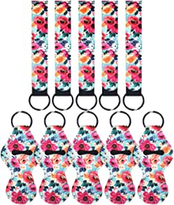 5 Pairs Vibrant Chapstick Holder Keychains, Neoprene Lipstick Holder Keychain Protective Cases with Wristlet Lanyard, Portable Balm Holders Pouch for Girls Women (Flower-1)