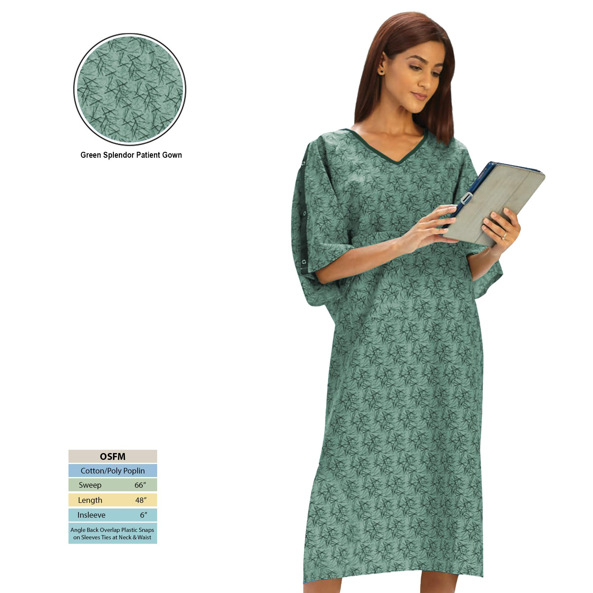 Personal Touch Unisex Hospital Patient Gown Plastic Snap IV Sleeves with Telemetry Pocket - Green Splendor Print - One Size Pack of 4 by Personal Touch
