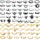 ONESING 40-69 Pcs Knuckle Rings for Women Stackable Rings Set Girls Bohemian Retro Vintage Joint Finger Rings Hollow…