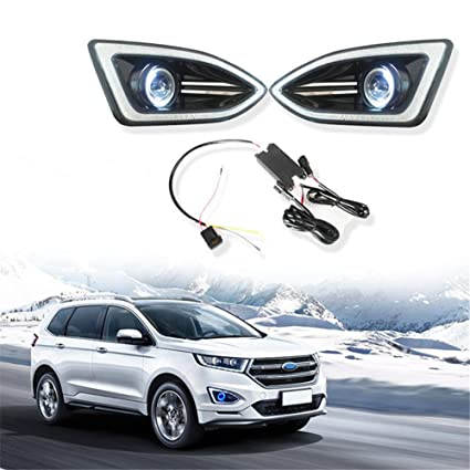 Amazon Com Baodiparts Led Daytime Running Fog Lights Projector Angel Eye Kit For Ford Edge Automotive