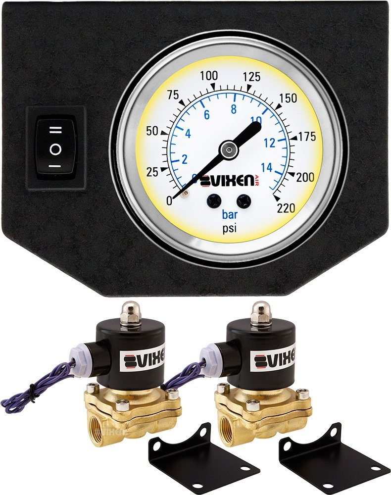 210PSI 12V with 1 Single Needle Gauge//1 Switch Dash Panel Kit White VXF0G2012W 2-Pack Solenoid Vixen Air 1//2 NPT Electric Air Valve