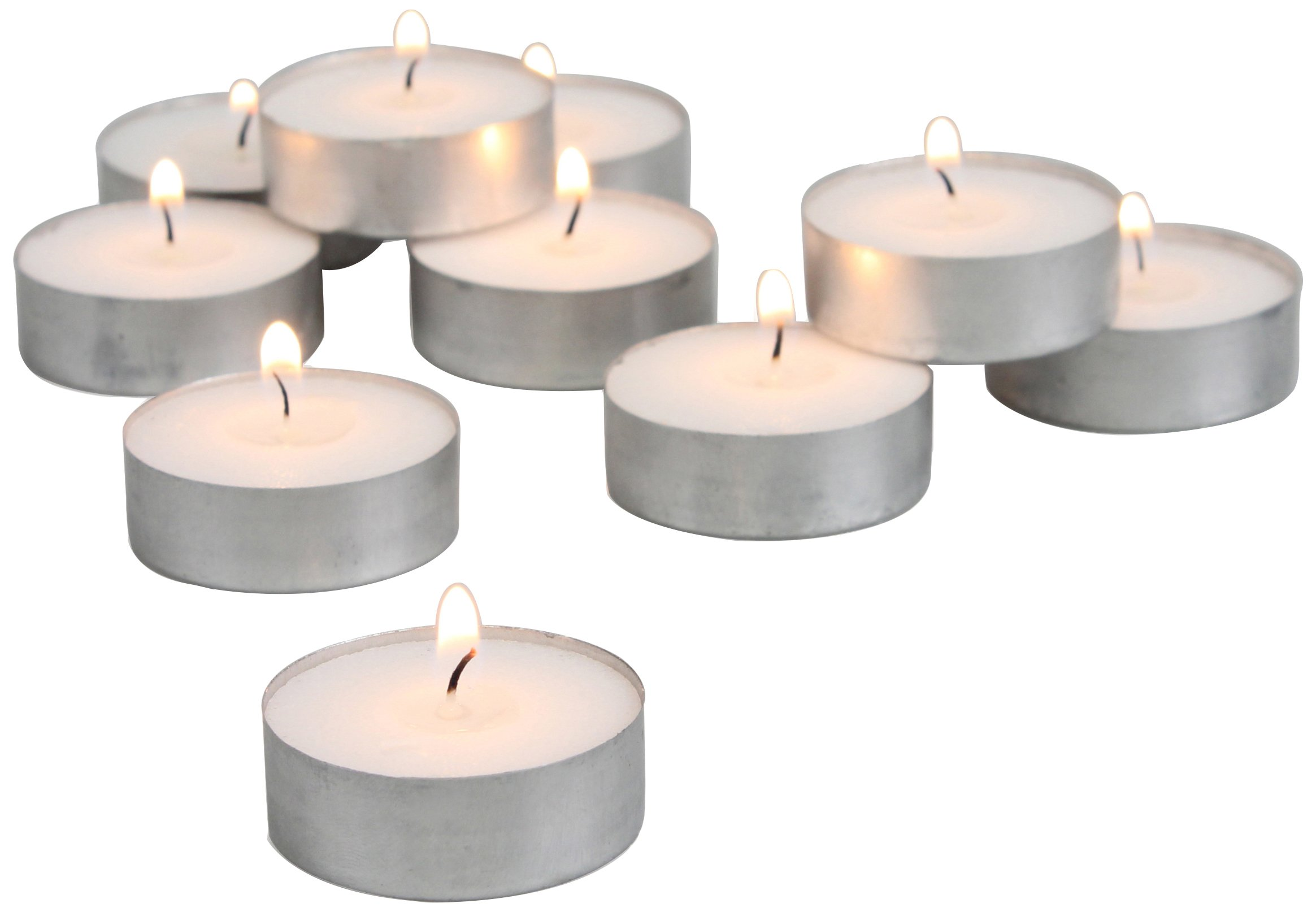 Stonebriar 4 Hour White Unscented Long Burning Tea Light Candles, Candle Accessories Birthdays, Weddings, Spas Everyday Home Decor, 100 Bulk Pack