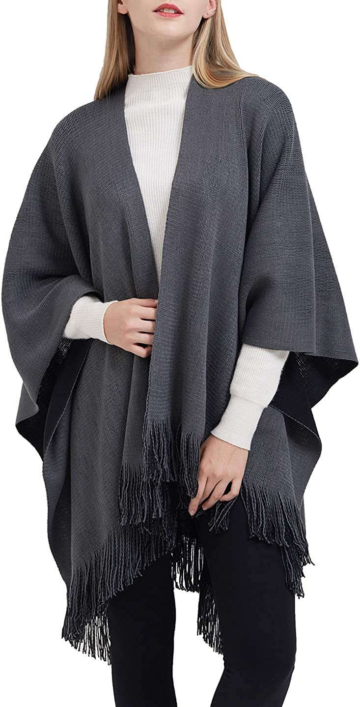 ilishop Women's Winter Knitted Faux Cashmere Poncho Capes Shawl Cardigans Sweater Coat