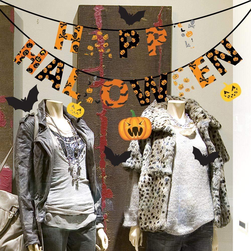 kina UVH0002 Happy Happy Halloween - Misure 60x30 cm - Vetrofanie di Halloween su PVC Trasparente - Decorazioni adesive da vetrine per Halloween