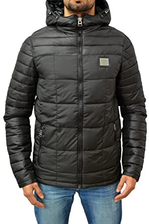 750de76b150a VOI Mens Designer Jeans Jacket Padded Puffer Nylon Quilted Rogue Coat Black  X-Large  Amazon.co.uk  Clothing