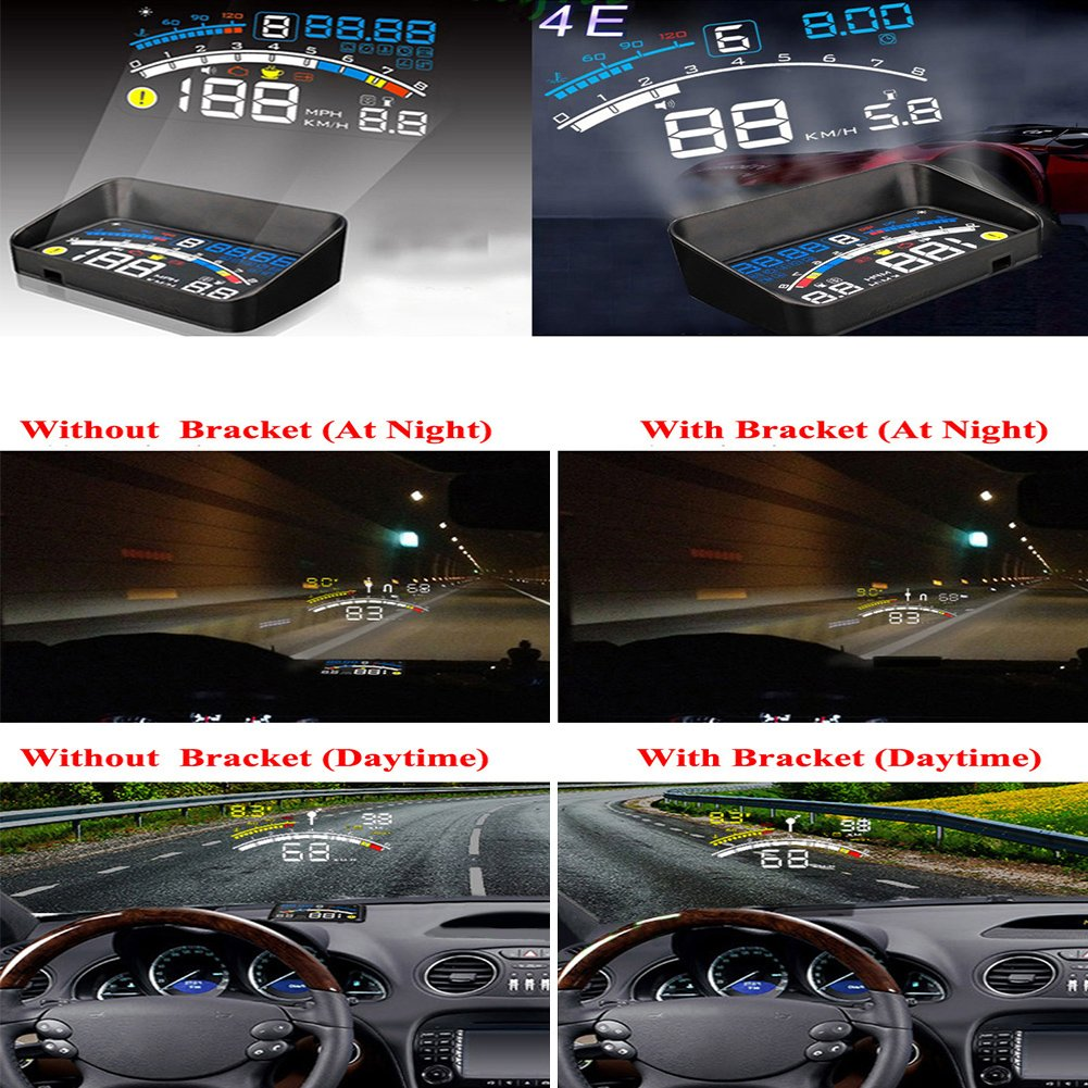 5.5 inch OBDII Car Windshield HUD Head Up Display, OBD2 II/EUOBD car HUD Head Up Display with Over speed Warning System, Projector Windshield Auto Electronic Voltage Alarm, Bracket (blue) by blue--net (Image #4)