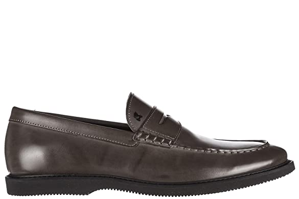 Men's Leather Loafers Moccasins Club guardolo L Grey