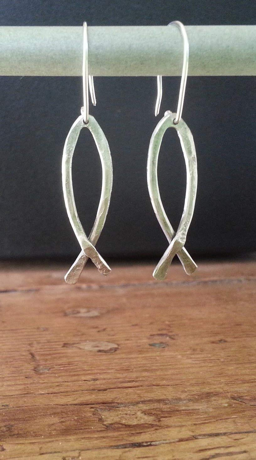 Unique Recycled Ichthus Fish Earrings made from upcycled aluminum wire
