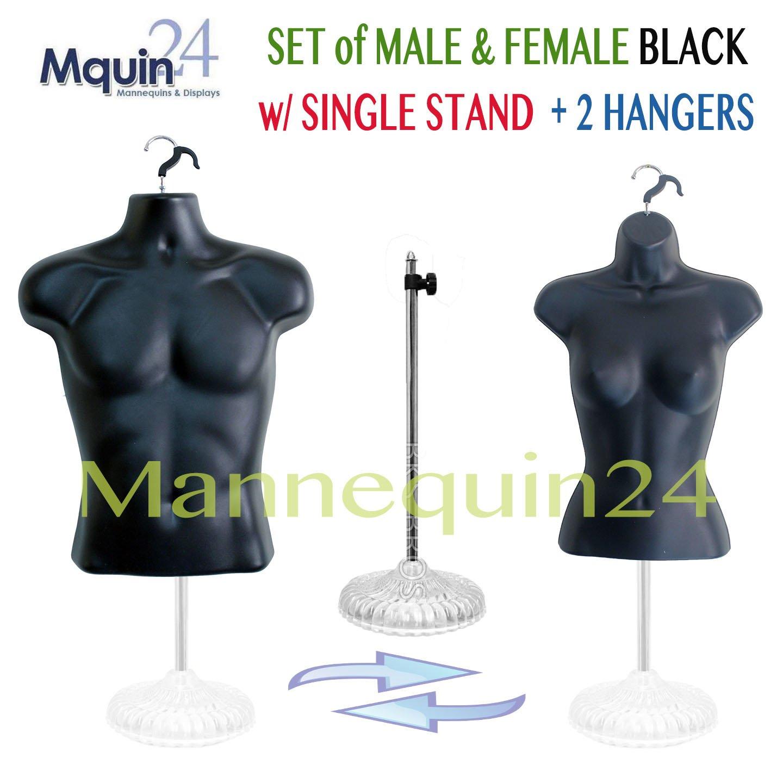 Black Mannequin Torsos- Set of Male + Female (Waist Long) + 2 Hangers + 1 Plastic Base