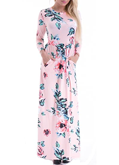 Women's Fashion Spring Floral Print Dress 3/4 Sleeve long Casual Maxi Dresses Zero Jorla (Pink XXL)