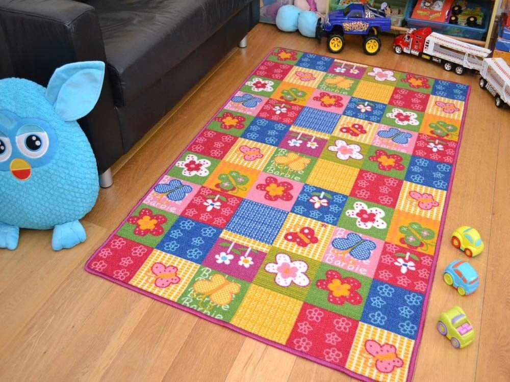 Butterfly Rugs Children's Butterflies Flowers Pink Mats High Quality Easy Clean Non Slip 4 Sizes (080x120cms) Vogue Rugs
