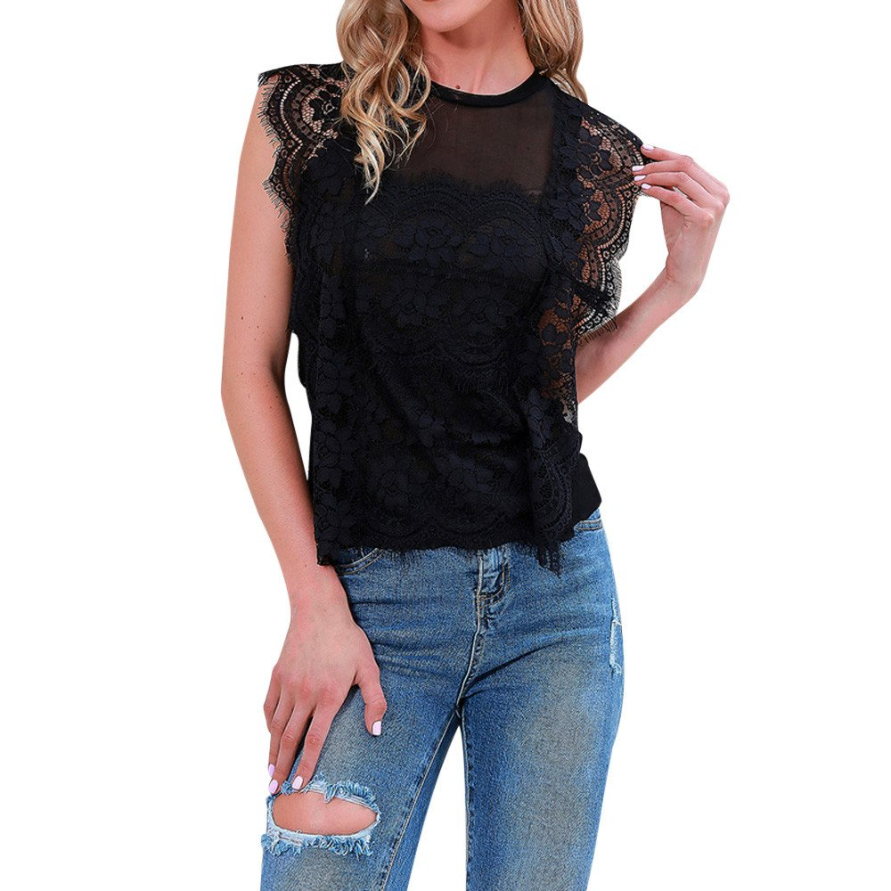 Tops in Women Clothing BXzhiri Women Lace Sleeveless Perspective Sweatshirt Pullover Blouse Shirt Tee Black