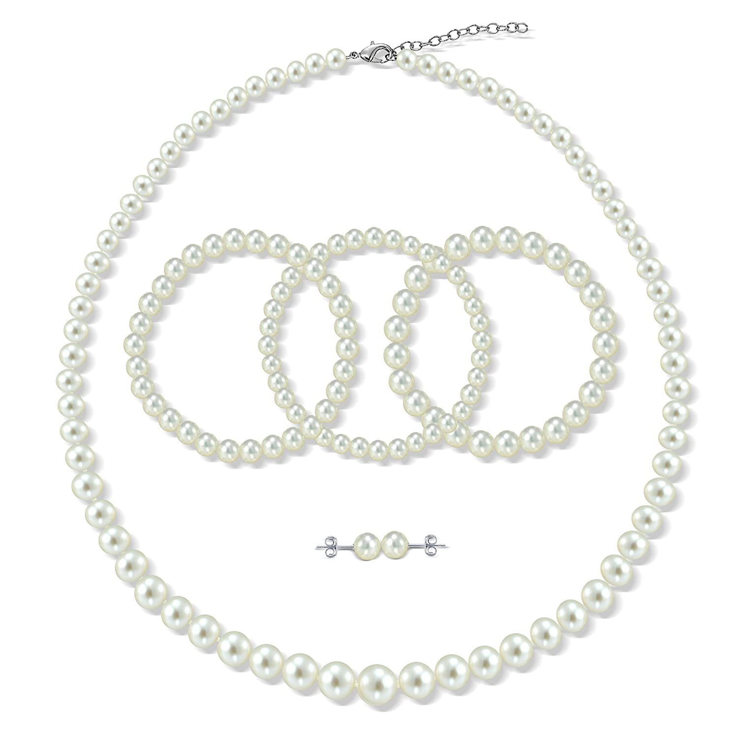 Sterling Silver Graduated 4-8.5mm White Freshwater Cultured Pearl Necklace, Bracelet & Stud Earrings