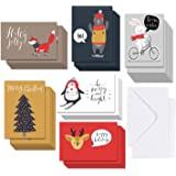 5 X 7 Large Christmas Cards Boxed Set In 36 Bulk Woodland Animals Merry Xmas Cards, Happy Holiday Gift Greeting Cards with Envelopes, 6 Funny Design each, Blank on the Inside