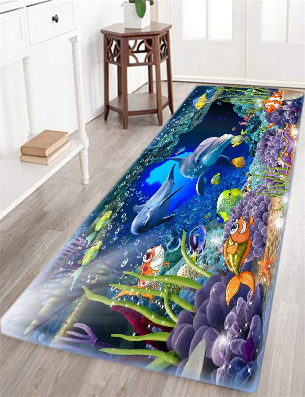 Bathroom Rug Non-Slip Flannel Microfiber Bath Mat Underwater World Dolphin Rug with Water Resistant Rubber Back Anti-Slip for Kitchen and Bathroom
