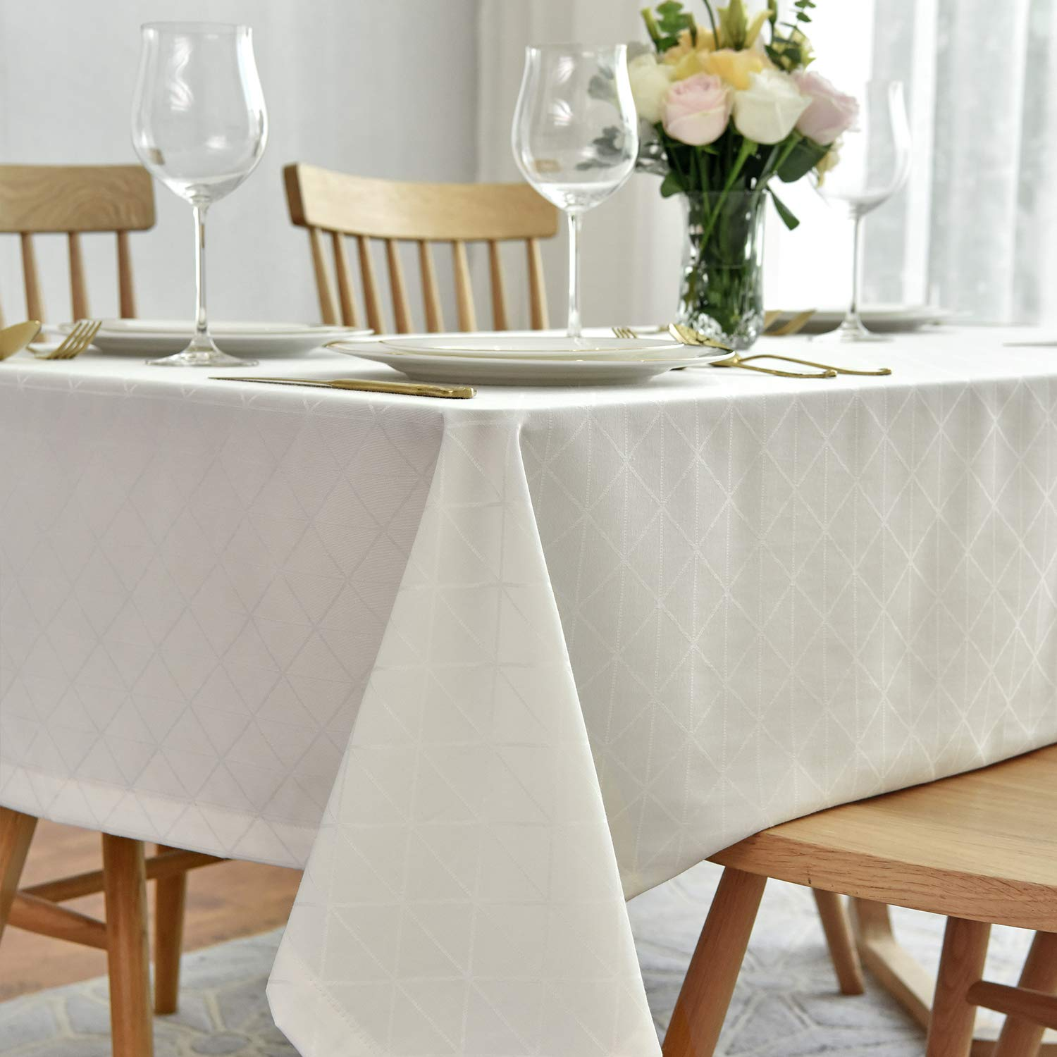 maxmill Jacquard Poly-Cotton Tablecloth Geometric Pattern SpillProof, Water Resistant Wide Hem Heavy Weight Soft Table Cloth for Kitchen Dining Tabletop Decoration Rectangle, Cream, 58x84 Inch by maxmill
