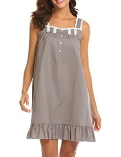 de661c880f Ekouaer Womens Victorian Vintage Nightgown Button Midi Sleeveless Cotton  Sleepwear S-XXL