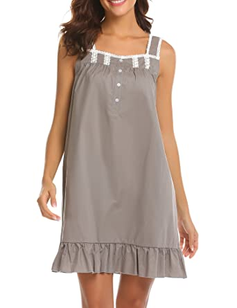 d00d47c4d4 Ekouaer Womens Cotton Victorian Vintage Sleeveless Martha Nightgown  Sleepwear Grey
