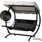 Jarder Two Seater Luxury Swing Seat Bed - Sun Lounger - Patio Garden Furniture - With Canopy
