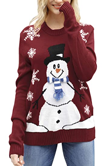 Sovoyontee Women Ugly Cute Christmas Sweater Long Sleeve Knit by Sovoyontee