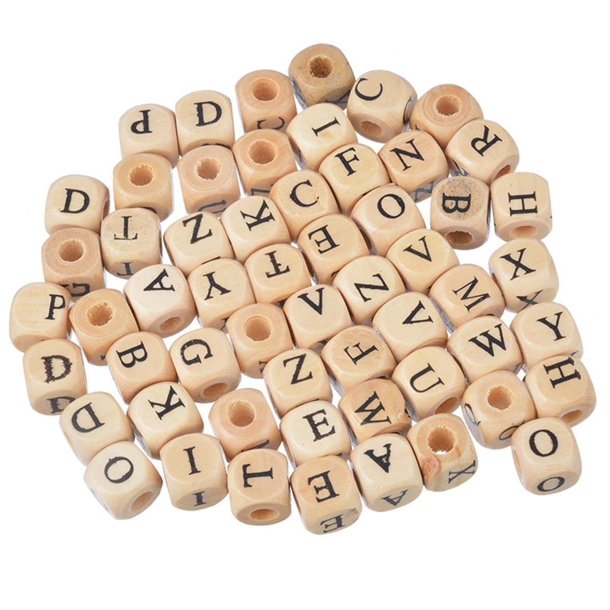 100pcs misti lettera dell\' alfabeto cubo legno con perline per fai da te fare scoperte 10mm Yin Feng 0AF0SA0U8N
